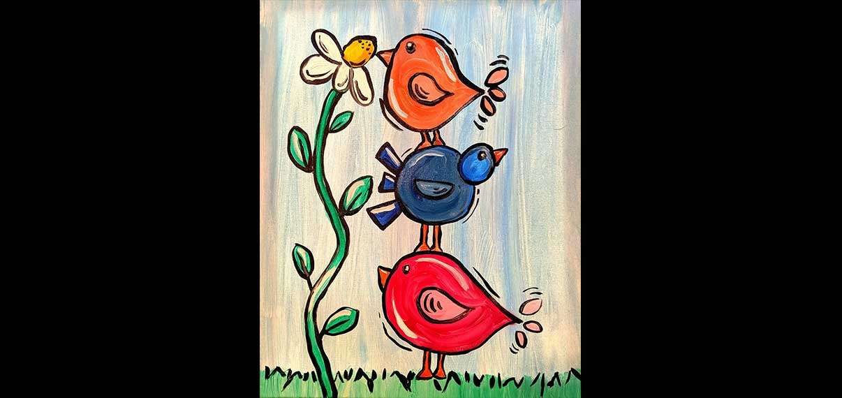 Painting whimsical birds at Seasonal Grille